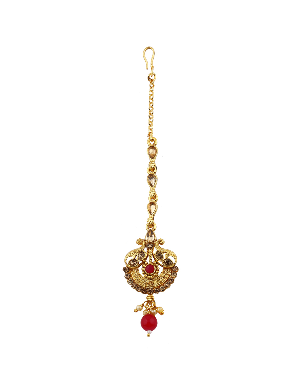 Western Look Classic Designer Red Colour With Golden Finishing Mang Tikka.
