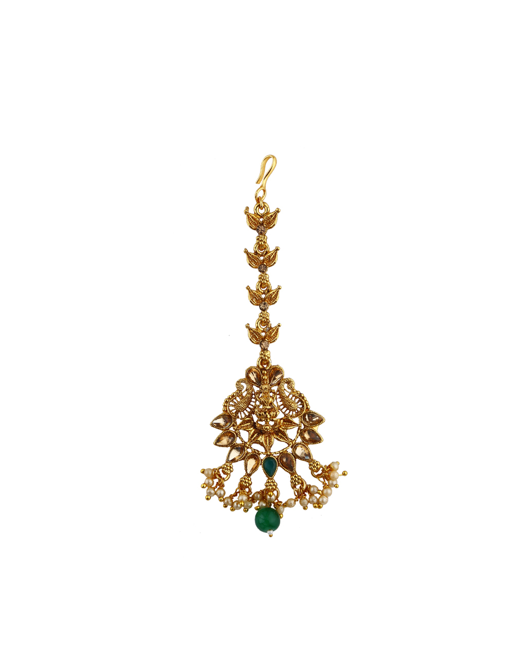Green Colour Stone Golden Finishing With Pearl Beads Mang Tikka