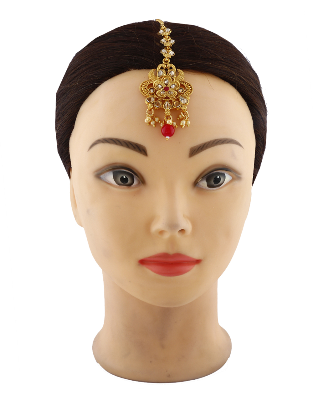 Traditional Classic Red Colour Stone With Golden Finishing Mang Tikka With Pearl Beads.