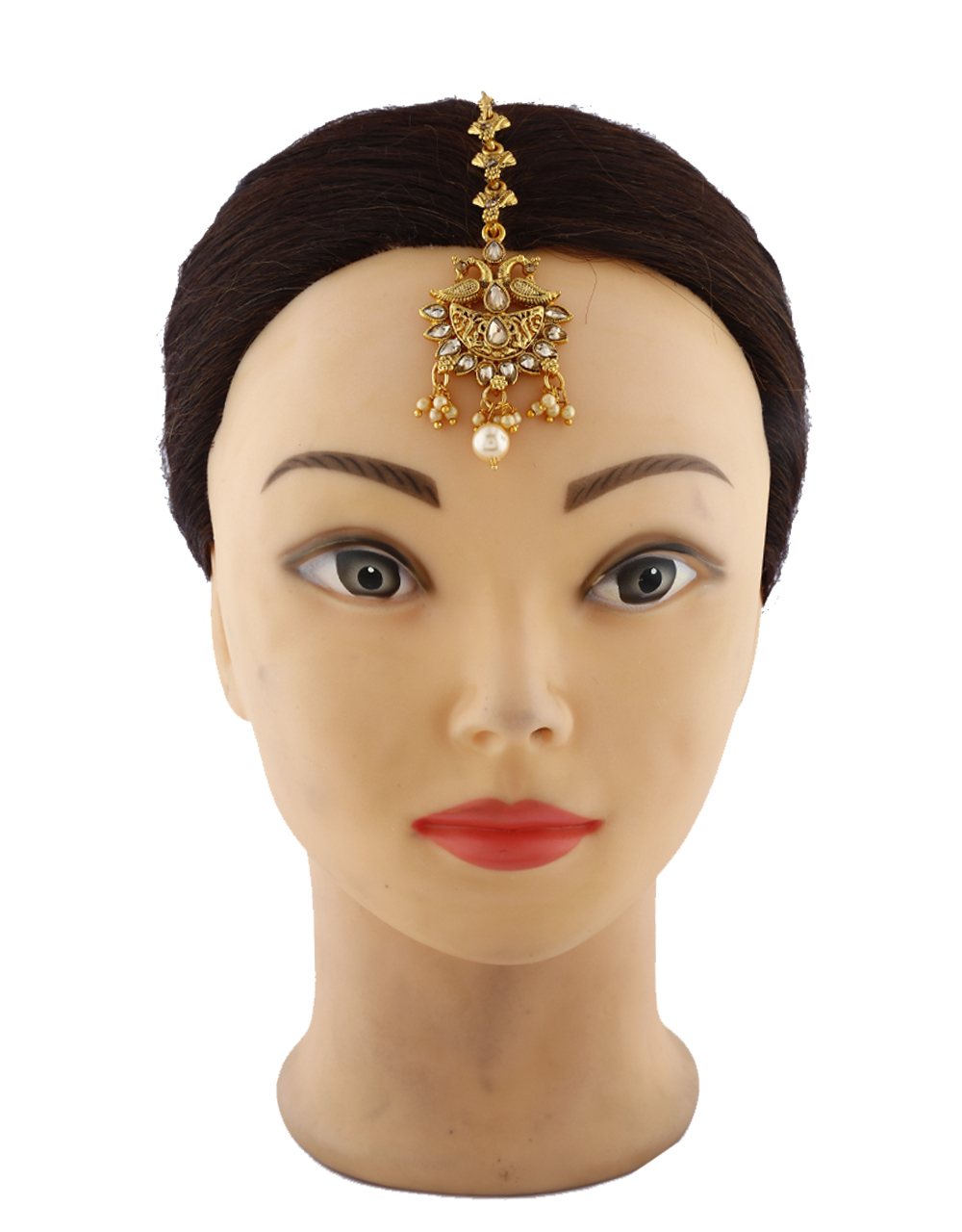 Trendy Peacock Design Golden Finishing With Stones Studded And Pearl Beads Mang Tikka.