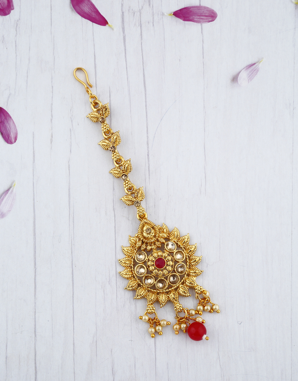 Traditional Golden Finishing Red Droplet Maang Tikka