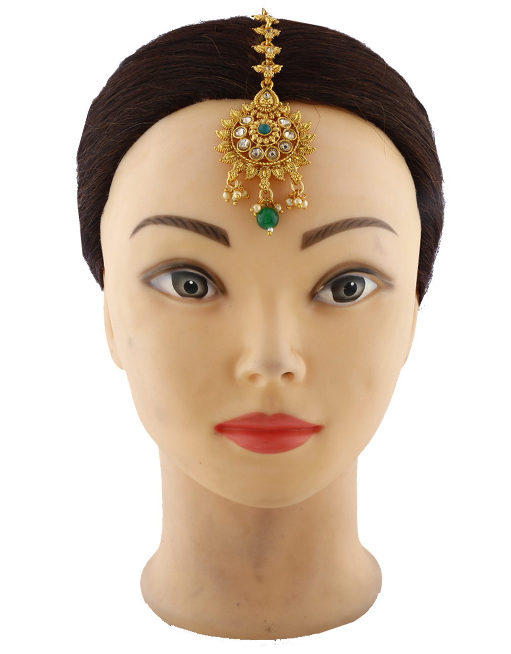Fancy Round Shape Golden Maang Tikka With Green Stone Droplet.
