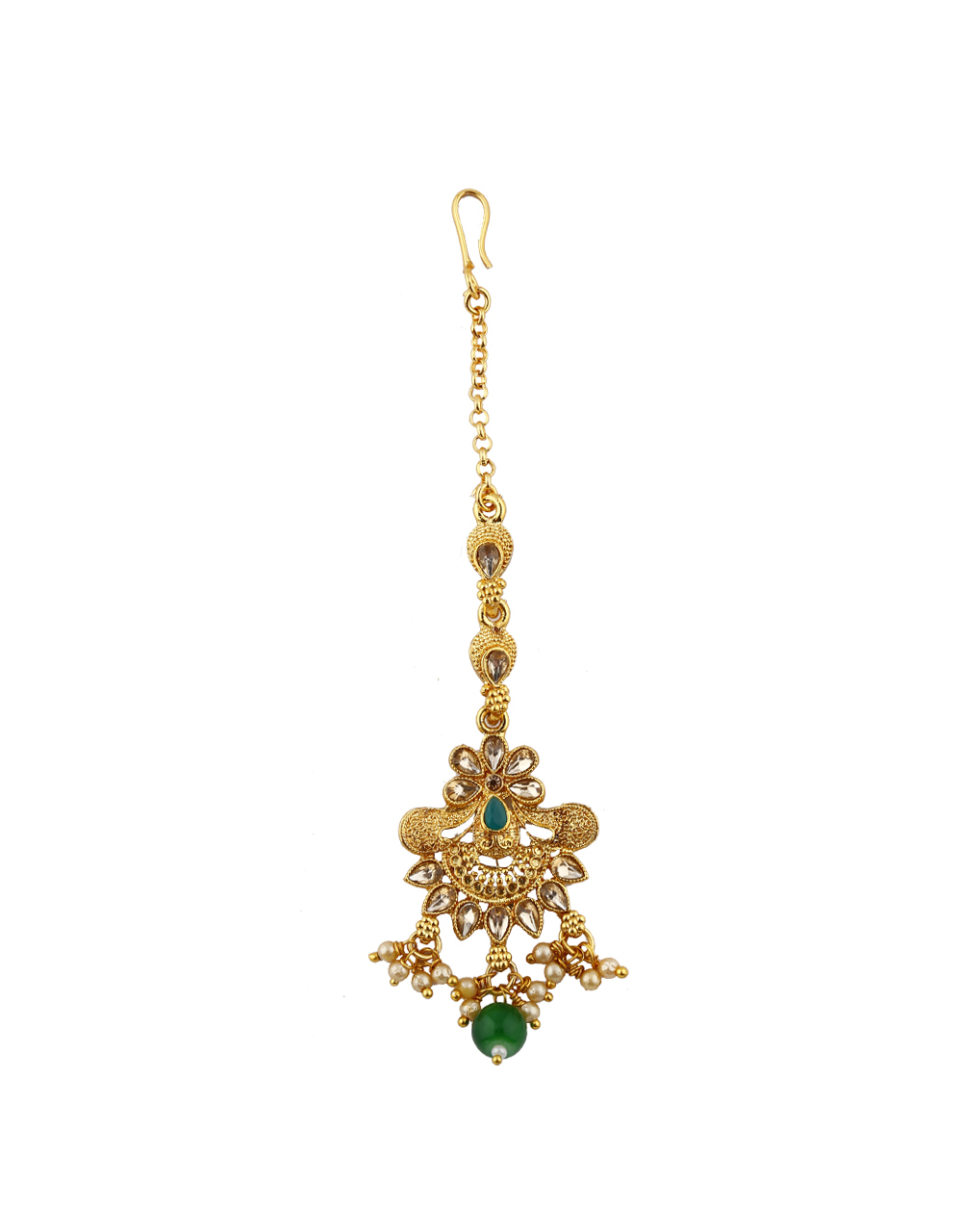 Traditional Golden Colour With Green Stone Droplet Maang Tikka.