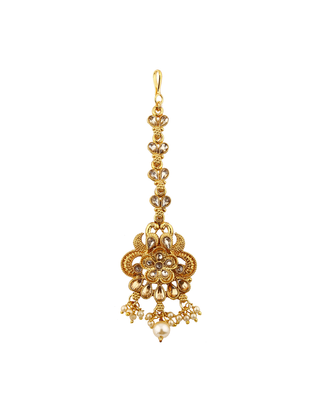 Trendy Golden Colour Maang Tikka With Pearl Baads.