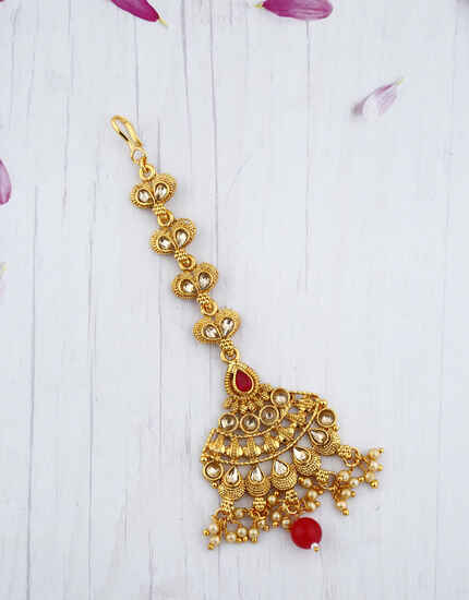 Beautiful Red Stone  Droplet Golden Maang Tikka.