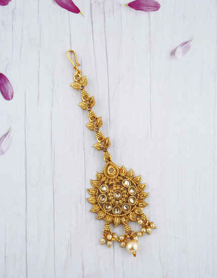 Traditional Fancy Golden colour Maang Tikka With Pearl Beads.