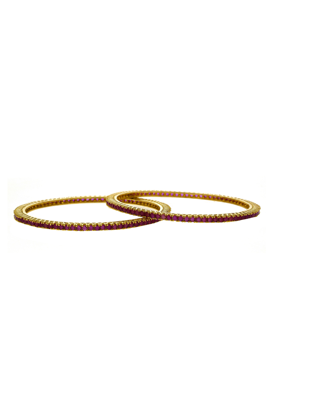 Dazzling Pink Stones Studded With Golden Matt Finishing Bangles.