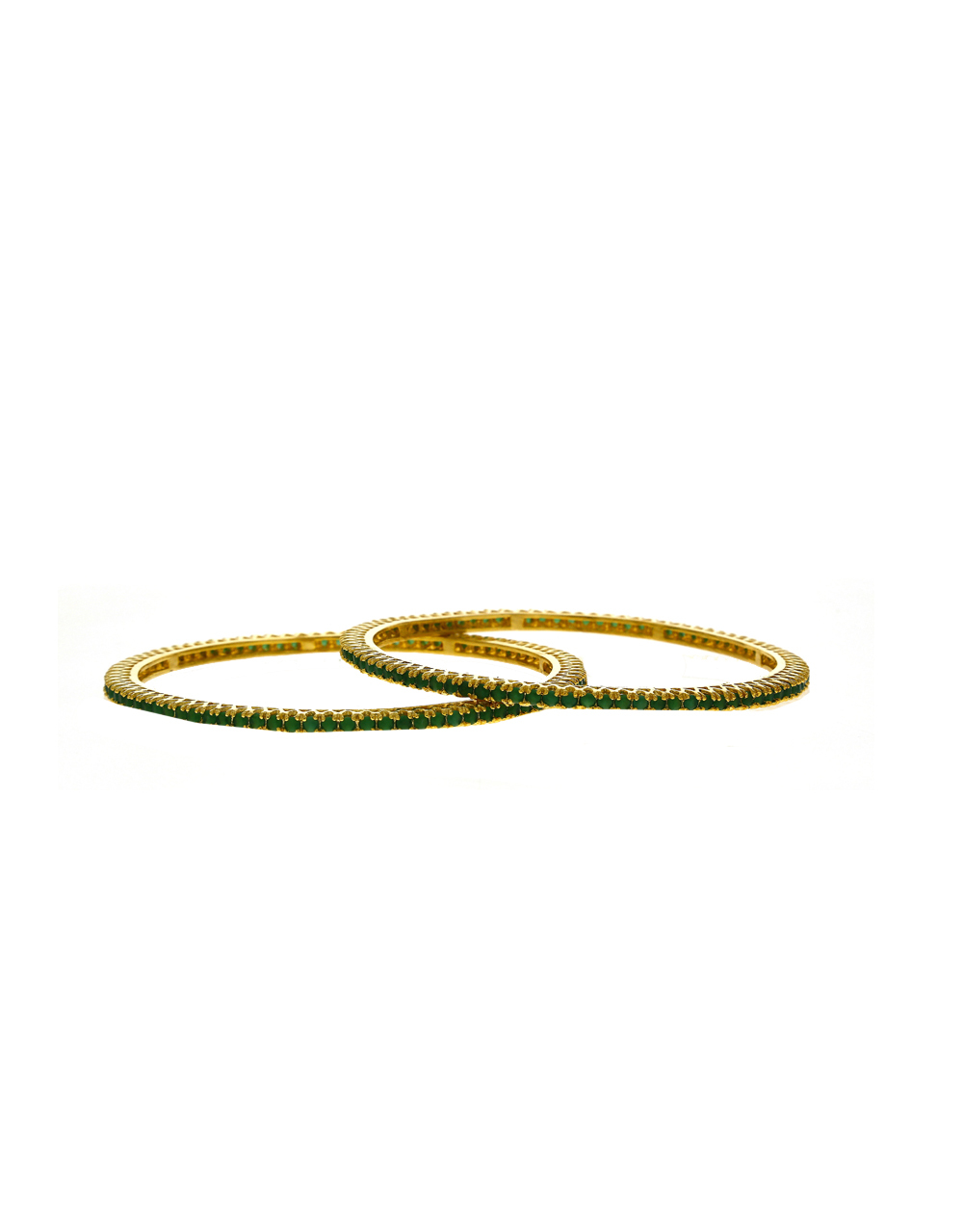 Dazzling Green Stones Studded With Golden Matt Finishing Bangles.