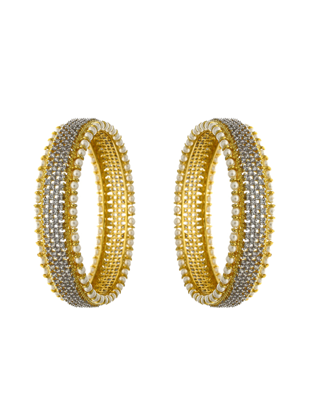Dazzling White Stones Studded With Pearl Beads With Golden Matt Finishing Fancy Designer Bangles.