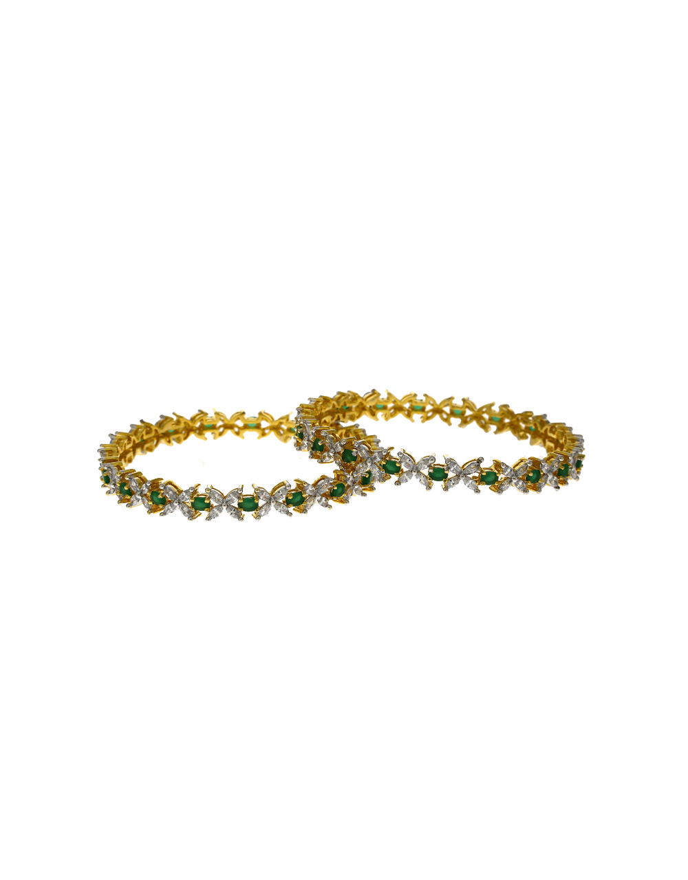 Dazzling White And Green  Stones Studded With Golden Matt Finishing Floral Design Bangles.