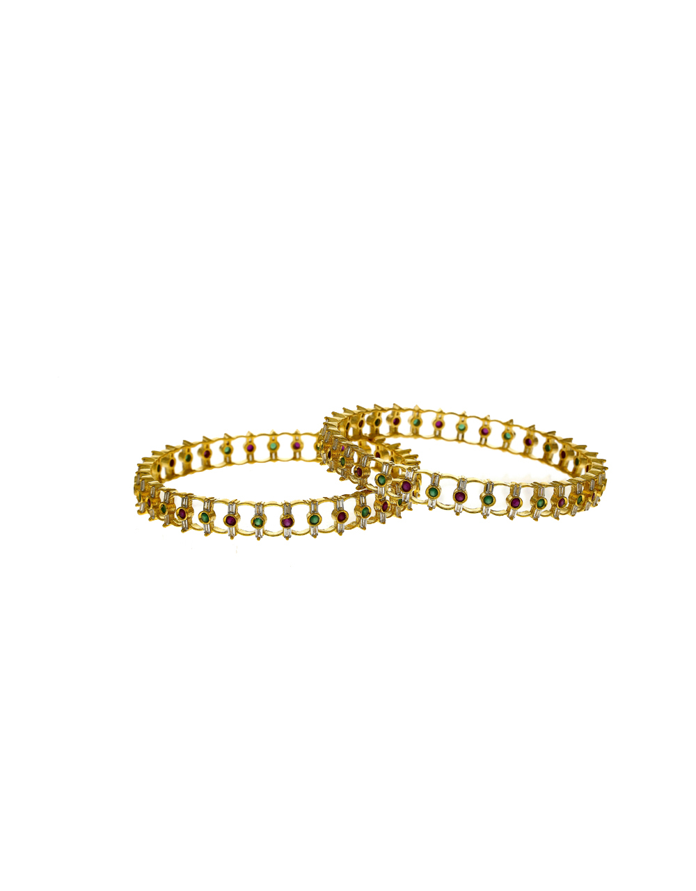 Dazzling White Green And Pink Stones Studded With Golden Matt Finishing Fancy Designer Bangles.