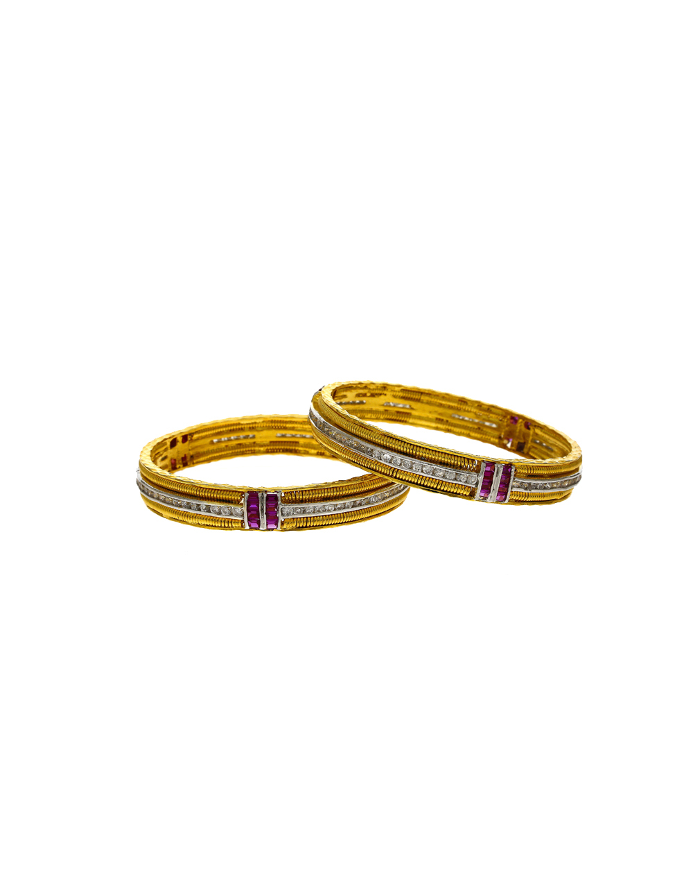Fancy White And Pink Stones Studded With Golden Finishing Bangles.