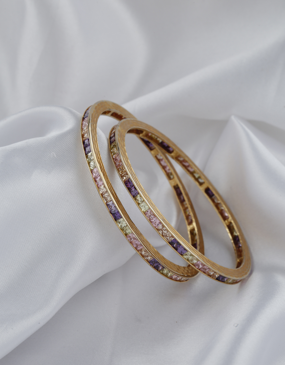 Pink , Purple And Yellow Stones Studded Bangles.