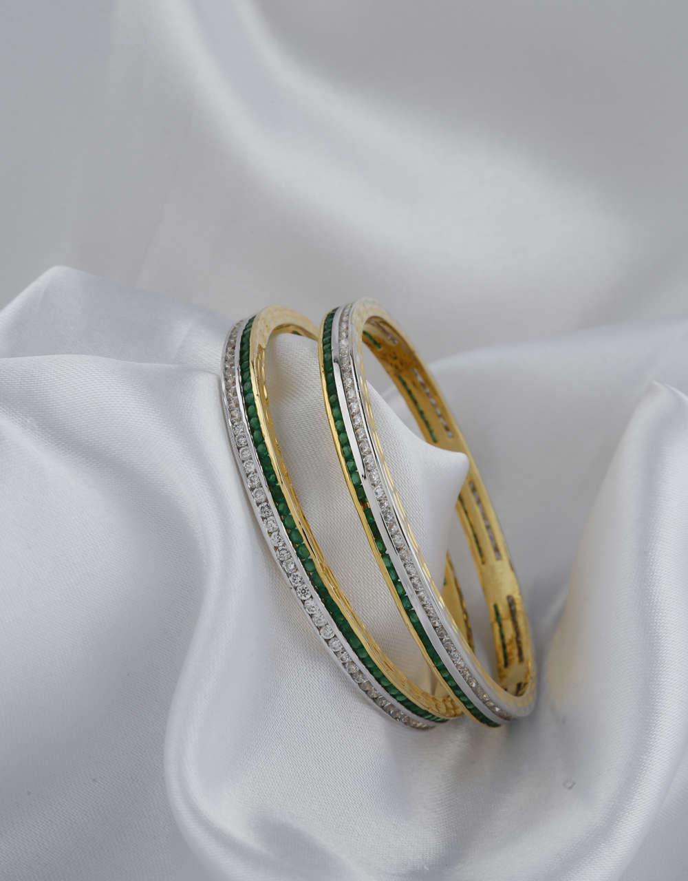 White And Green Stones Studded With Golden Finishing Bangles.
