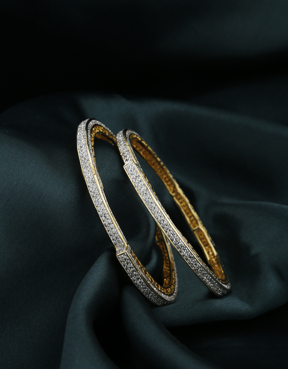 White Stones Studded With Golden Finishing Bangles.