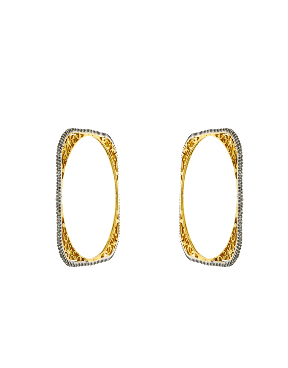 Dazlling White Stones Studded With Square Pattern Bangles.