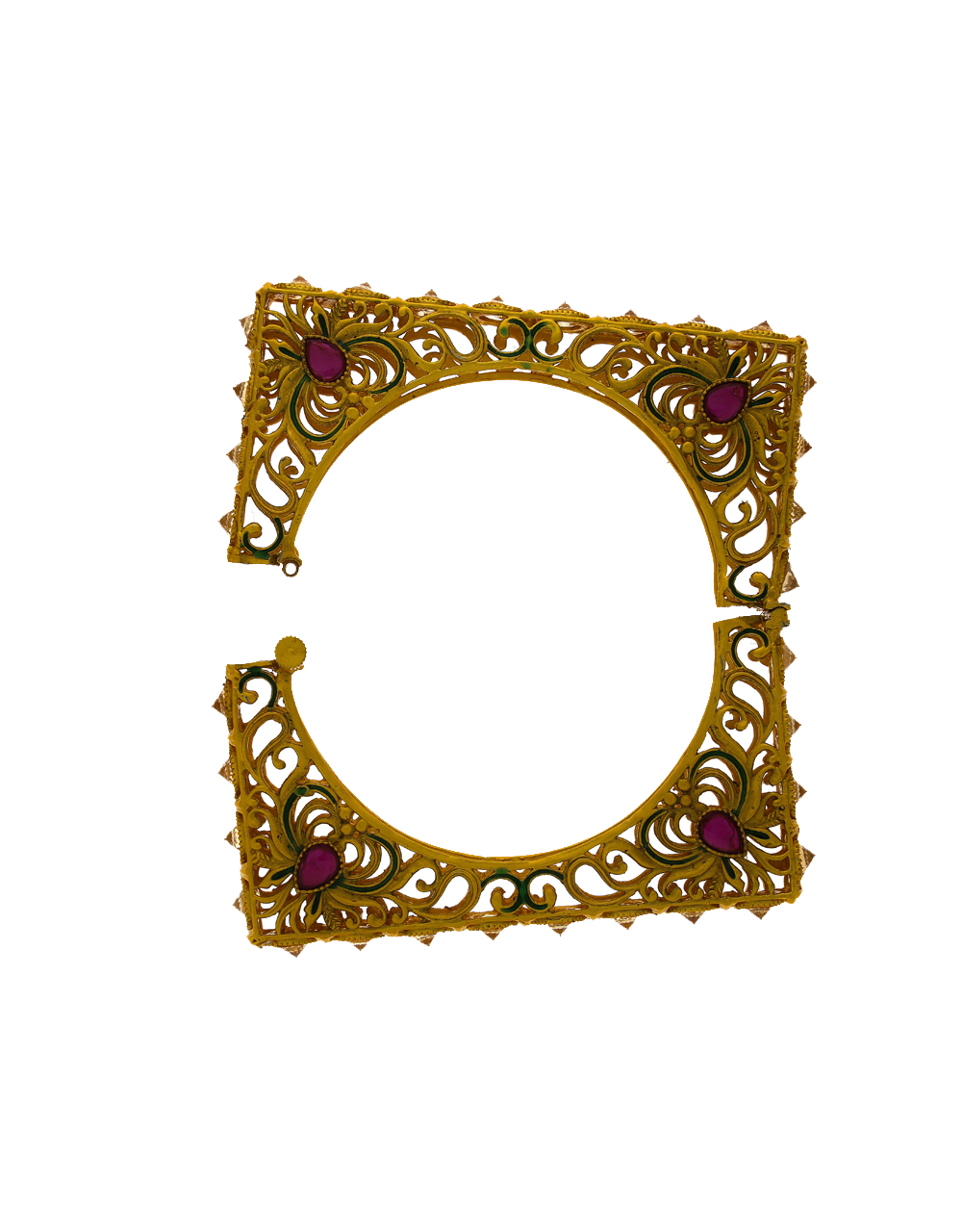 Square Shape Traditional Pink Stone Studded Gold Finish Bangles.