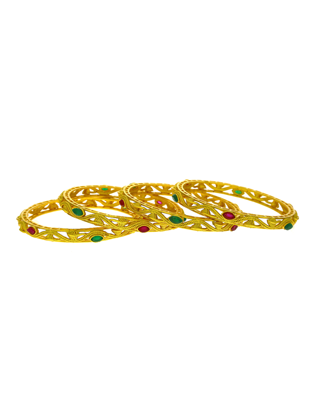 Traditional Pink And Green Stone Studded Gold Finish Bangles.
