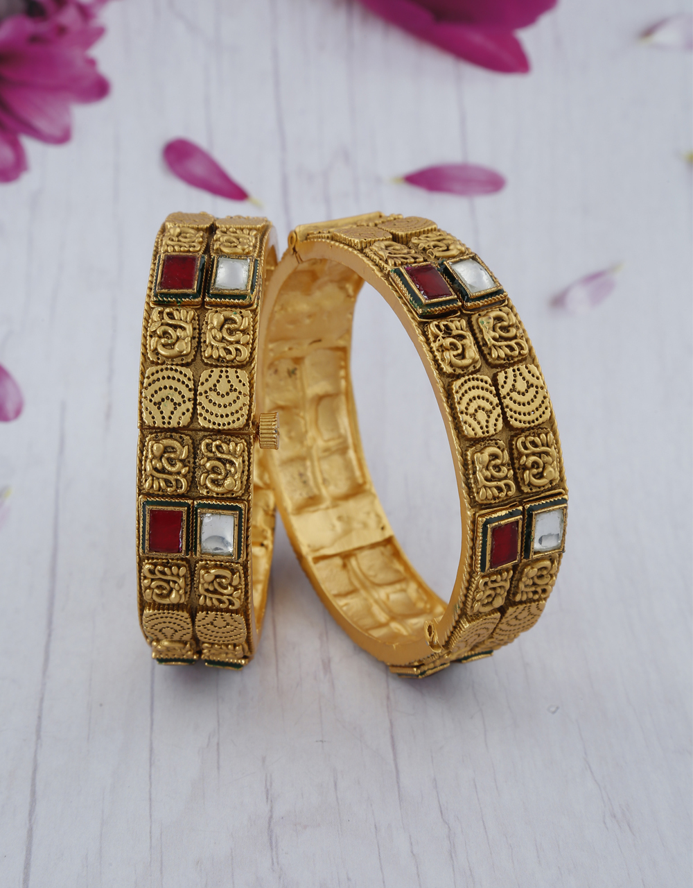 Traditional Red And White Stone Studded Gold Finish Bangles.