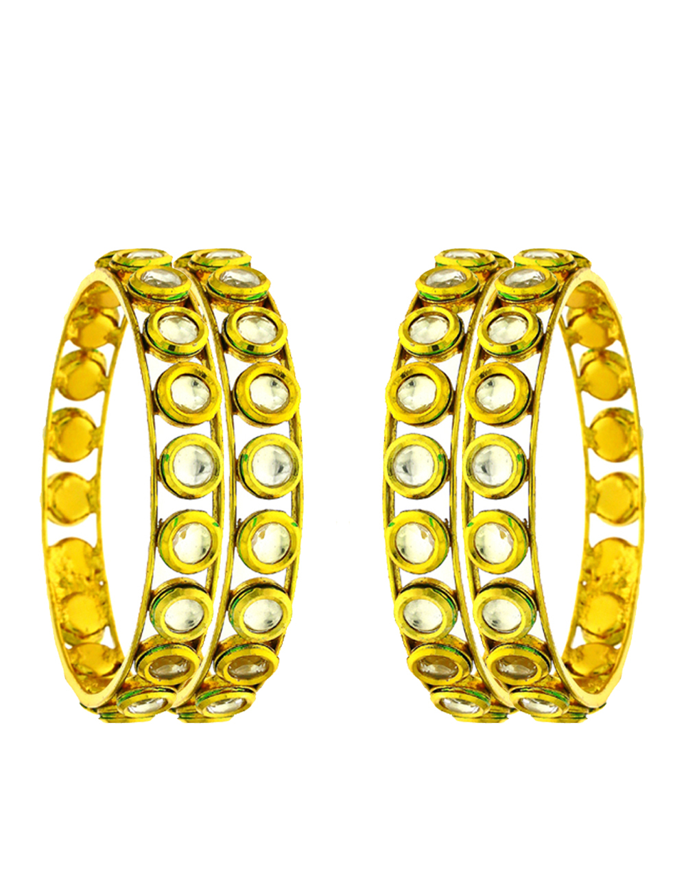 Designer Kundan Studded Gold Finish Bangles For Women