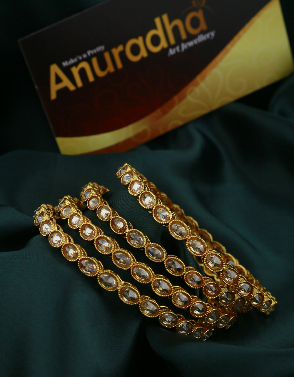 LCT Stones Studded Fancy Bangles Set for Women