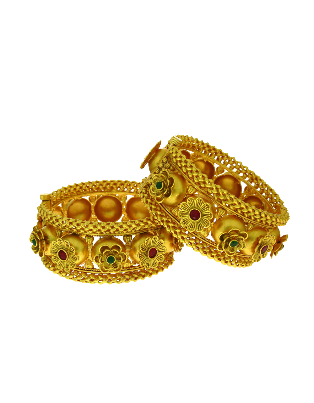 Royal Floral Design Pink-Green Stone Studded Bangles