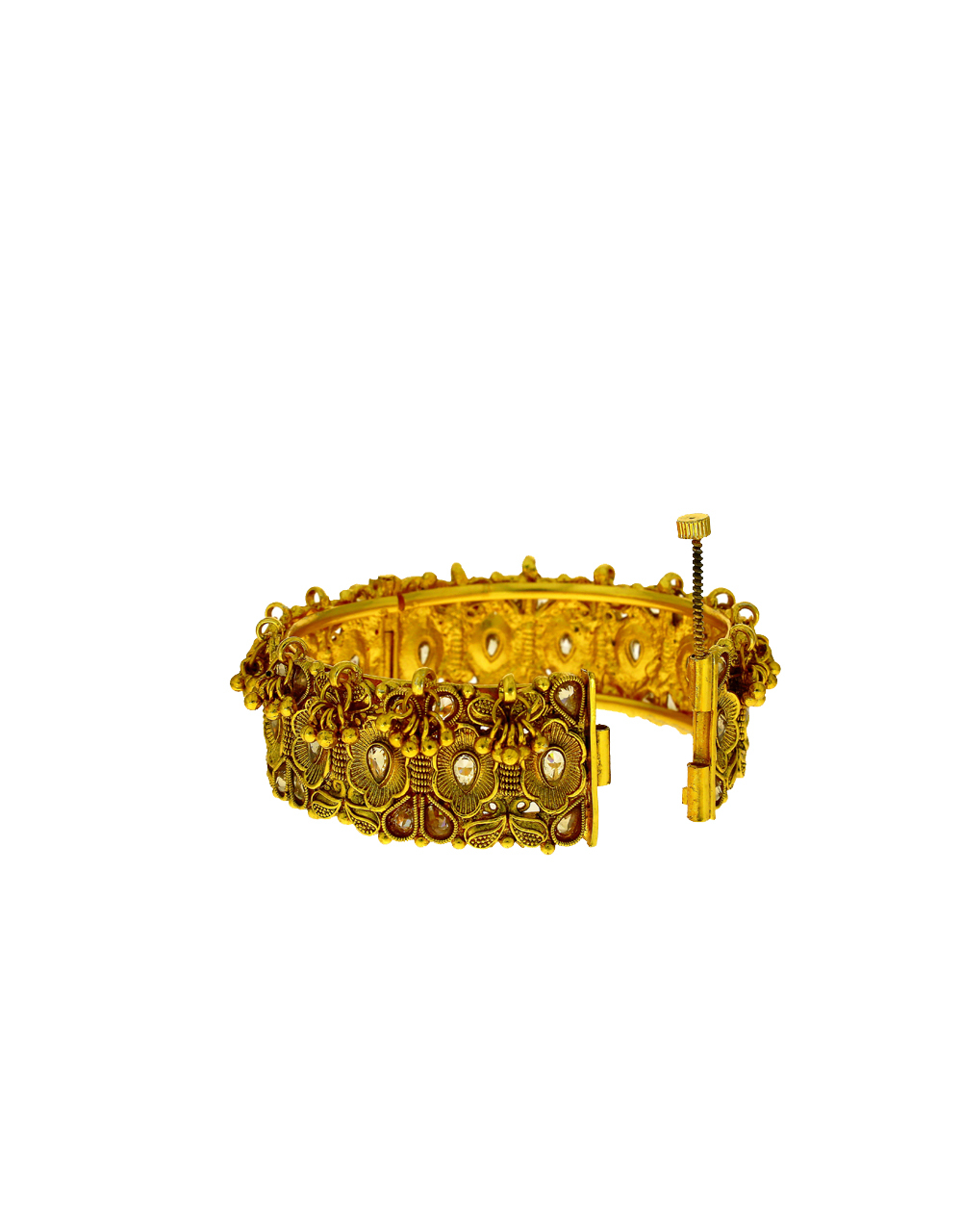 Traditional Round Shape With Ghoongru Droplet Bangles.