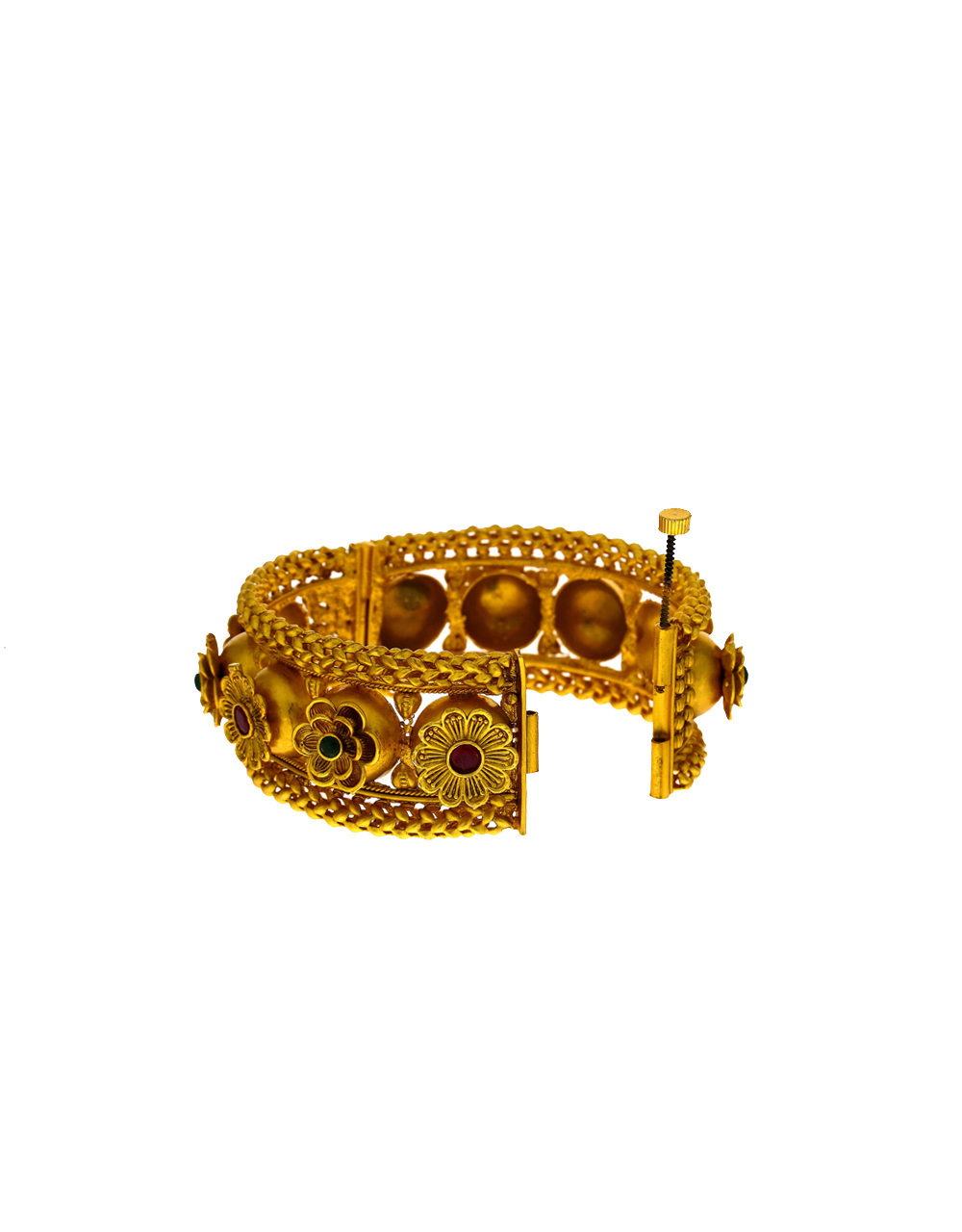 Floral Design Traditional  Stone Studded Gold Finish Bangles.