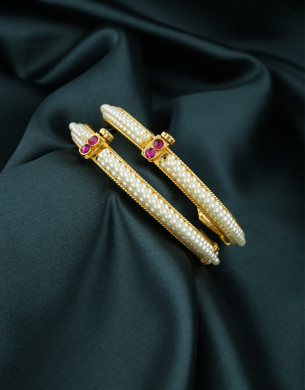 Beautiful Pearl Beads Studded Bangles For Women.
