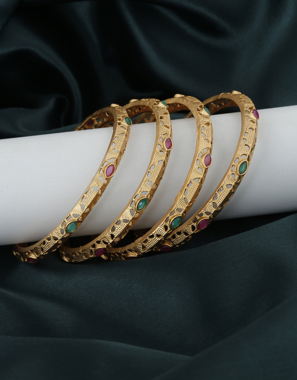 Fancy Golden Finish Encrusted With Multi-Colour Stone Traditional Bangles.