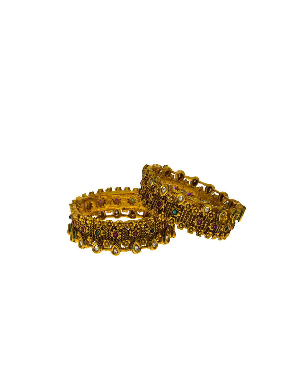 Exclusive Floral Designed Golden Finish Traditional Bangles For Women.