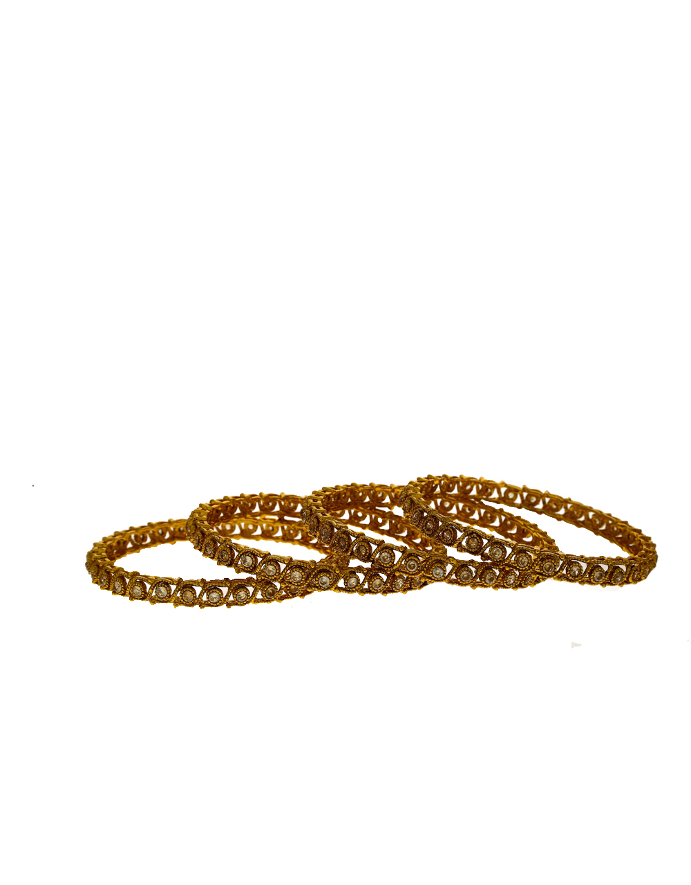 Unique Golden Finish LCT Stone Studded Traditional Bangles Online.