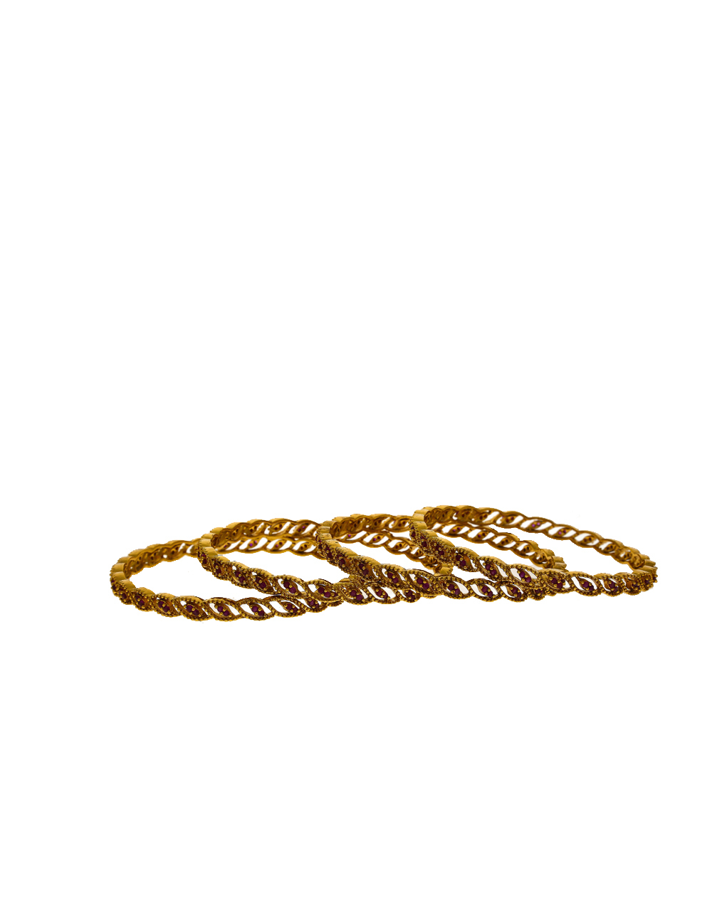 Stunning Golden Finish Embedded With Rani Colour Stone Traditional Bangles.