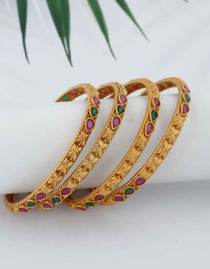 Splendid Leaf Designed Stone Studded Traditional Bangles For Women.