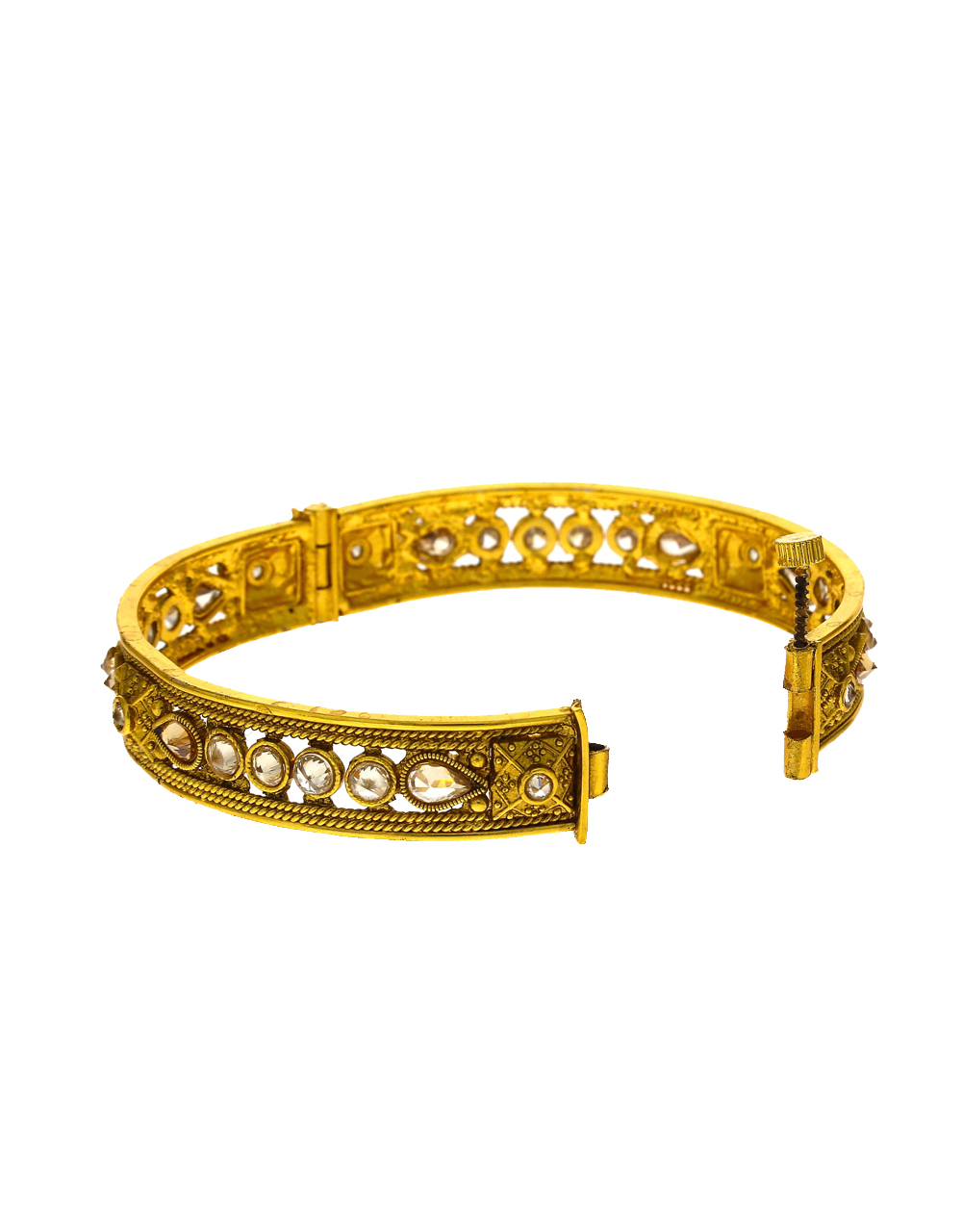 Adorable Golden Finish Encrusted With LCT Stone Traditional Bangles For Women Online.