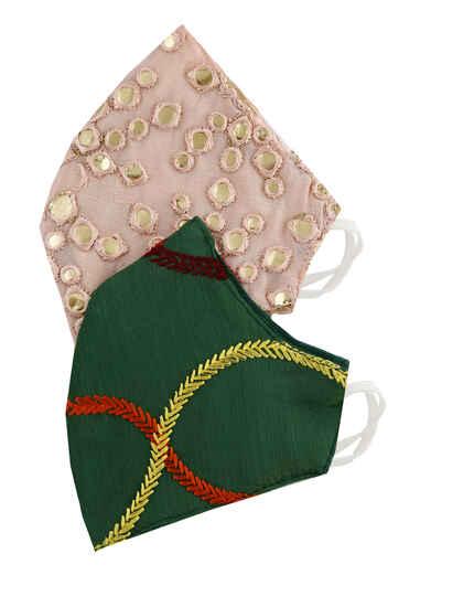 Designer pink and dark green face mask combo for girls/women.