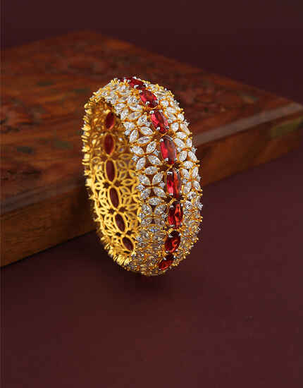 Fancy Rugby Stones Studded Gold Finish Bracelet For Girls/ Women.