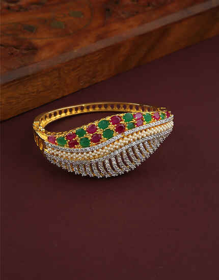 Stylish Rugby And Green Stones Studded Traditional Bracelet For Women.