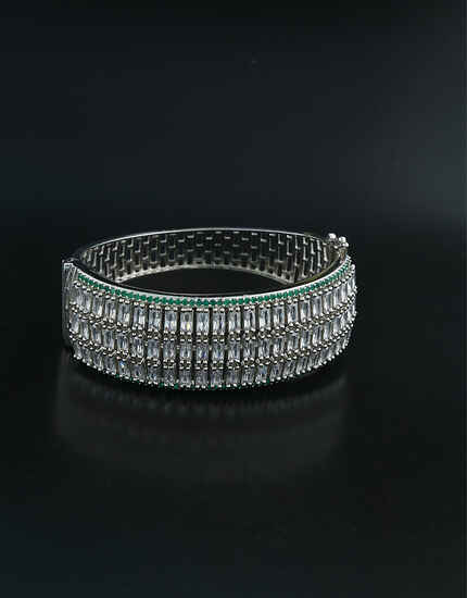 Beautiful Silver Finish With Sparkling American Diamonds Studded Bracelet.