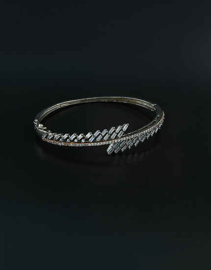 Silver Oxidized Fancy American Stones Studded Bracelet For Girls/Women.