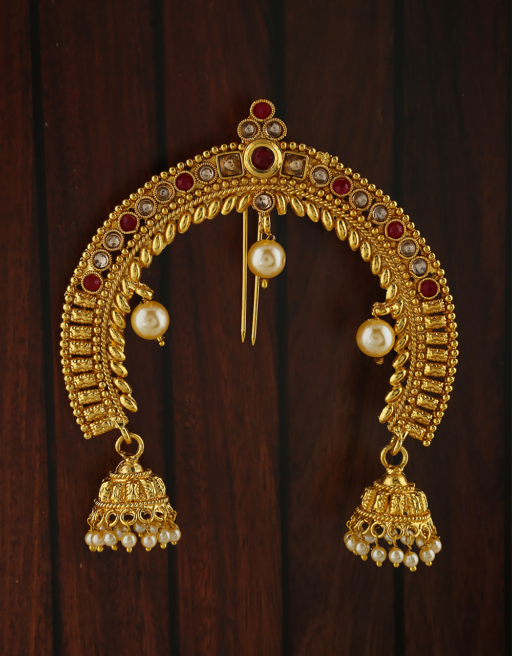 Red And White Stones Studded With Golden Finishing Hair Brooch.