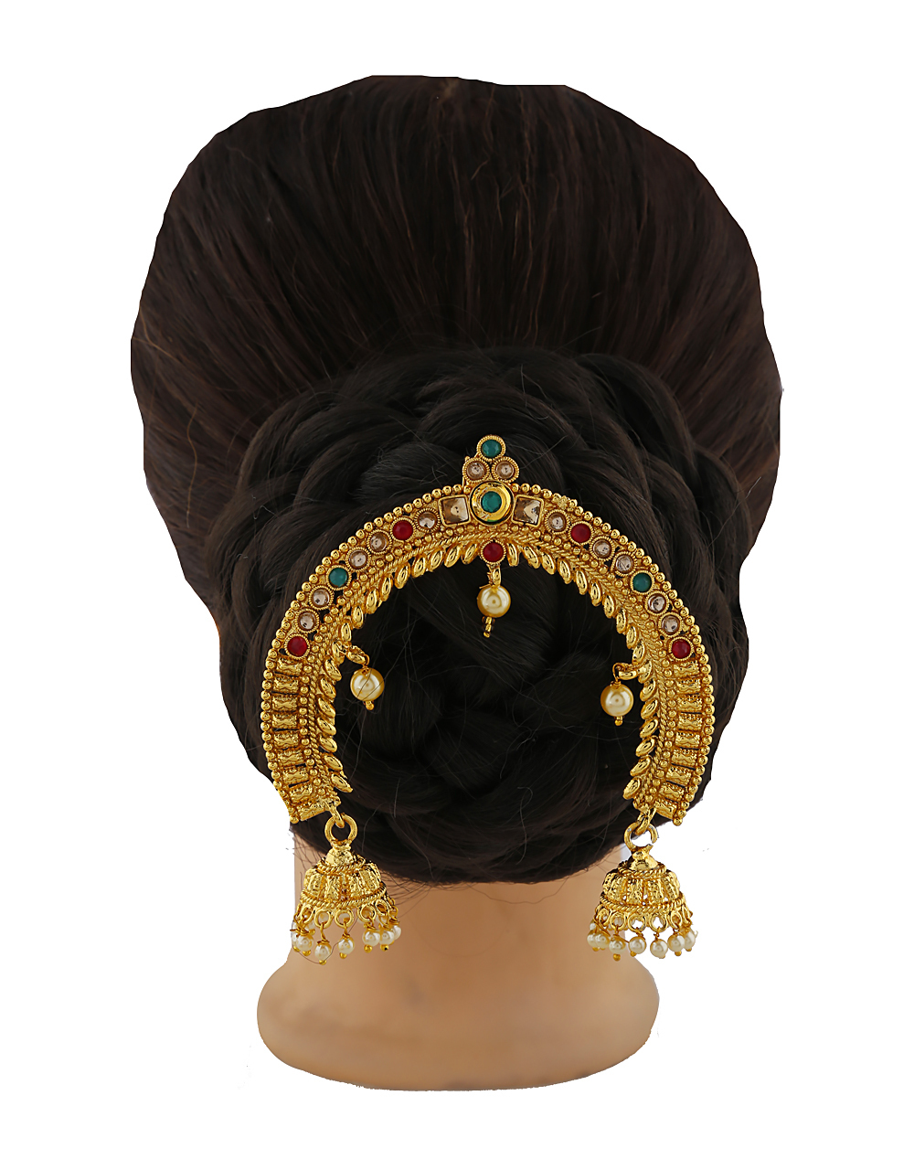 Multi Colour LCT stones studded hair brooch.