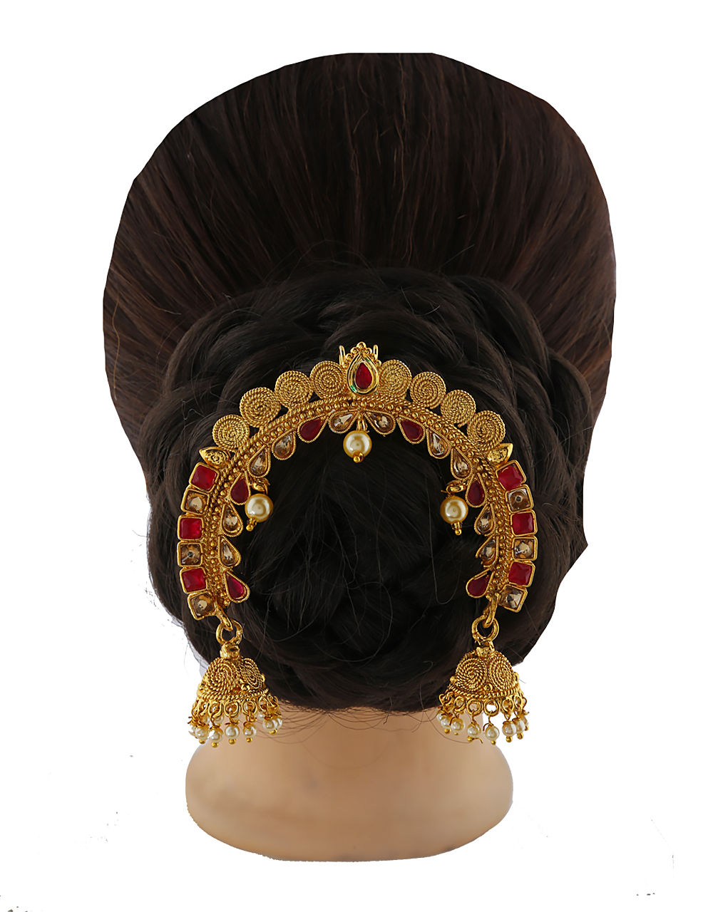 Red- White with LCT stones studded stylish hair brooch for women/girls.