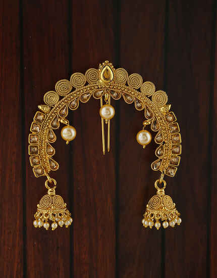 Gold Plated Fancy Pearl Jhoomka Droplet Designer Hair Brooch For Women.
