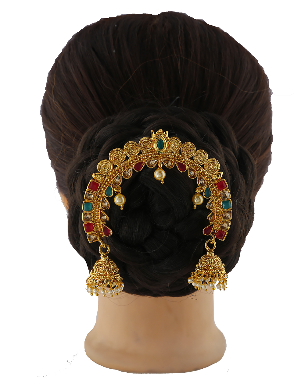 Kundan With LCT Stones Studded Hair Brooch