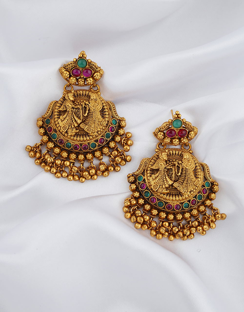 Temple Golden Finish With Anklet Bells Droplet Classy Earrings Pair.