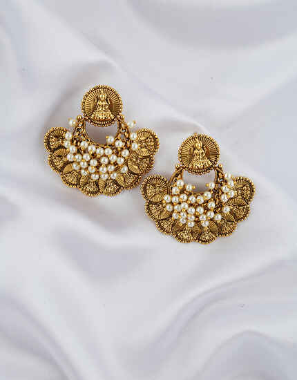 Antique Golden Temple Design Pearl Beads Studded Earrings Pair.