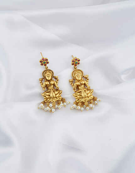 Temple Design Lakshmi Goddess Pearl Droplet Earrings Pair.