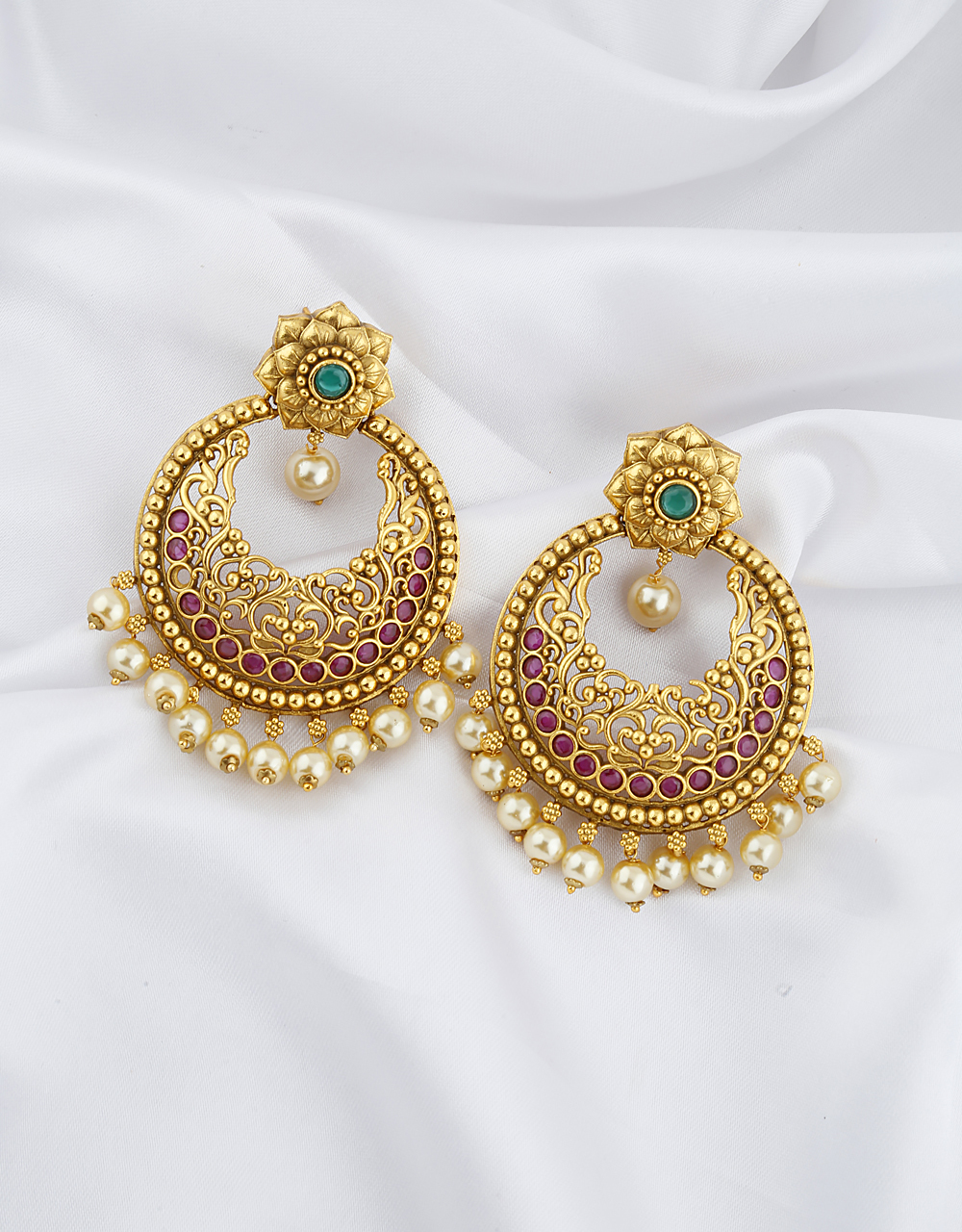 Ruby And Green Stones Studded Gold Finish Gold Beads Droplet Earrings Pair.