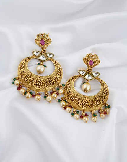 Ruby Stones Studded Gold Finish Pearl Beads Droplet Earrings Pair.